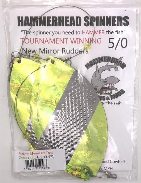Hammerhead Custom Cowbell Spinners - 5/0 - Yellow Mountain Dew - FL573