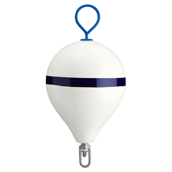 "Polyform Mooring Buoy w/Iron 17"" Diameter - White Blue Stripe"