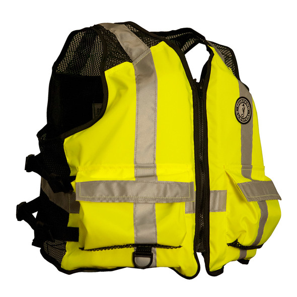 Mustang High Visibility Industrial Mesh Vest - Yellow/Black - 4XL-5XL