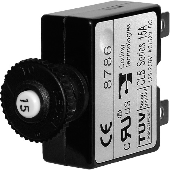 Blue Sea 7056 15A Push Button Thermal with Quick Connect Terminals