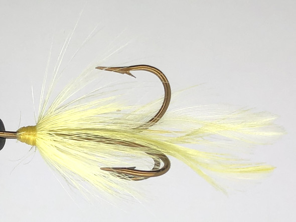 10 Flies -  Yellow Feather Yellow Head on Bronze 1 Mustad Treble Hook