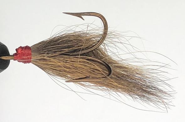 10 Flies -  Brown Bucktail Red Head on Bronze 1/0 Mustad Treble Hook