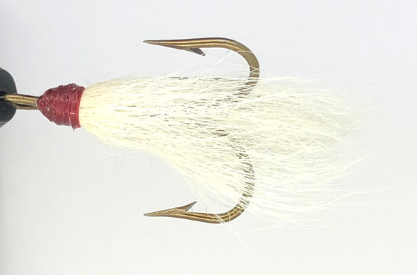 10 Flies -  White Bucktail w/ Red Head on Bronze 1/0 Mustad Treble Hook
