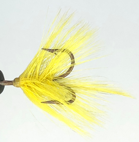 10 Flies -  Yellow Feather w/ Yellow Head on Bronze 6 Mustad Treble Hook