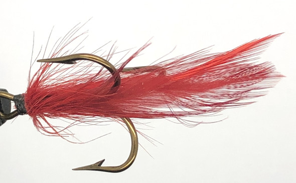10 Flies -  Red Feather Black Head on Bronze 6 Mustad Treble Hook