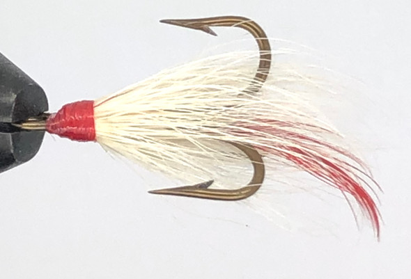 10 Flies -  White Buck Red Head Red Tail Bronze 1/0 Mustad Treble Hook