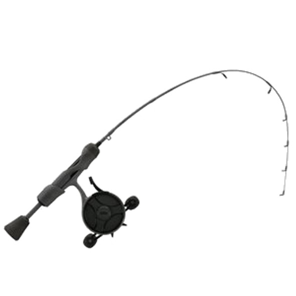 "13 Fishing - FreeFall Ghost Stealth Edition Ice Combo 27"" UL - FF Ghost + Tickle Stick (Reel Seat handle) - Left Hand - Black/Grey Camo"
