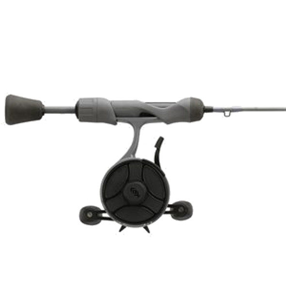 """13 Fishing - FreeFall Ghost Stealth Edition Ice Combo 27"""" L - FF Ghost + Tickle Stick (Reel Seat Handle) - Left Hand - Black/Grey Camo"""