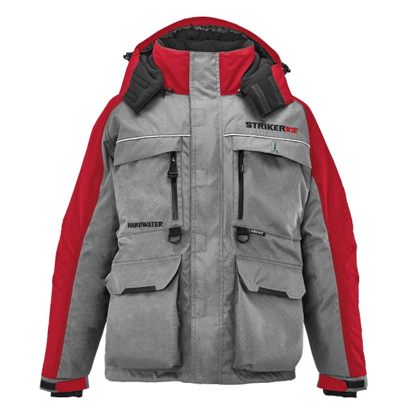 Striker Ice - Men's HardWater Jacket - Gray / Red