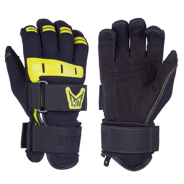 HO Sports Wakeboard Men's World Cup Gloves - Black/Yellow - Small