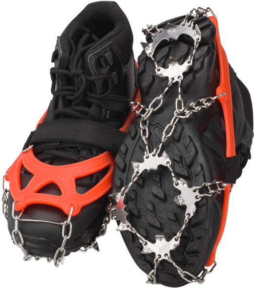 Large Crampons Ice Cleats Traction Snow Grips for Shoes and Boots Stainless Steel Microspikes