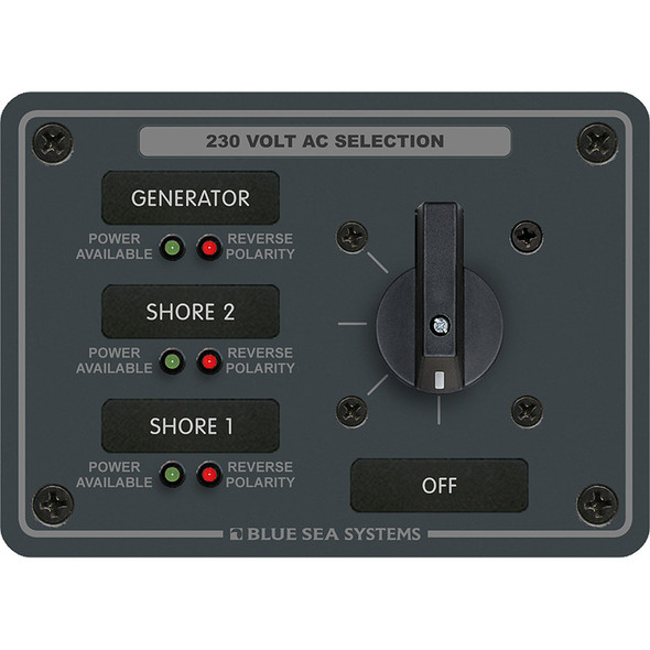 Blue Sea 8358 AC Rotary Switch Panel 30 Ampere 3 Positions + OFF, 2 Pole