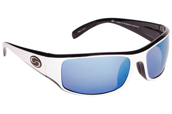 Strike King - S11 Optics Okeechobee Sunglasses - Shiny White Black Two Tone Frame Multi Layer White Blue Mirror Gray Base Lens