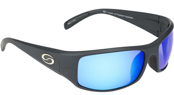 Strike King - S11 Optics Okeechobee Sunglasses - Matte Black Frame, Multi-Layer White Blue Mirror, Gray Base Lens.