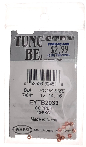 """Wapsi Tungsten Beads - 10 per pack - Copper 7/64"""""""