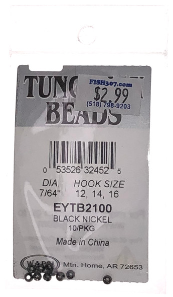 "Wapsi Tungsten Beads - 10 per pack - Black/Nickel 7/64"""