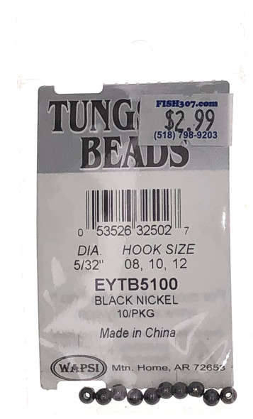 "Wapsi Tungsten Beads - 10 per pack - Black/Nickel 5/32"""