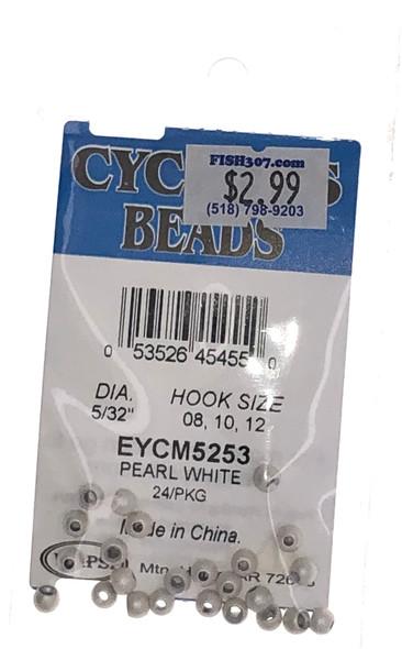 """Wapsi Cyclops Beads - 24 per pack - Pearl White 5/32"""""""
