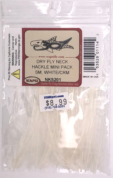 Wapsi Dry Fly Neck Hackle Mini Pack Small - White/Cream