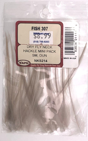 Wapsi Dry Fly Neck Hackle Mini Pack Small - Dun
