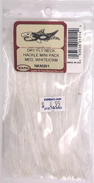Wapsi Dry Fly Neck Hackle Mini Pack Medium - White/Cream