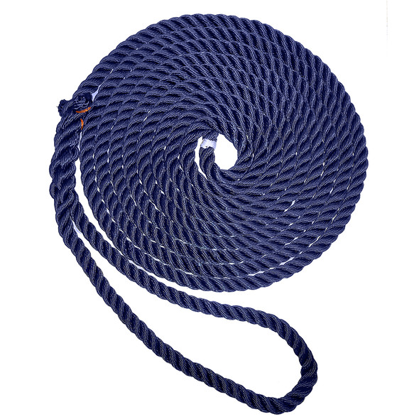 "New England Ropes 1/2"" X 25' Premium Nylon 3 Strand Dock Line - Navy Blue"