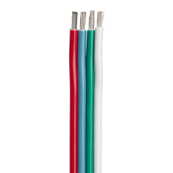Ancor Flat Ribbon Bonded RGB Cable 16/4 AWG - Red, Light Blue, Green & White - 100'