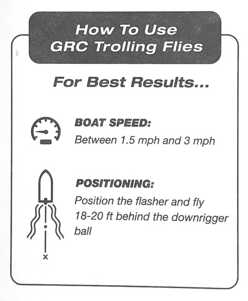 "GRC Trolling Flies - 6"" With E-Chip - Green Krinkle Glow"