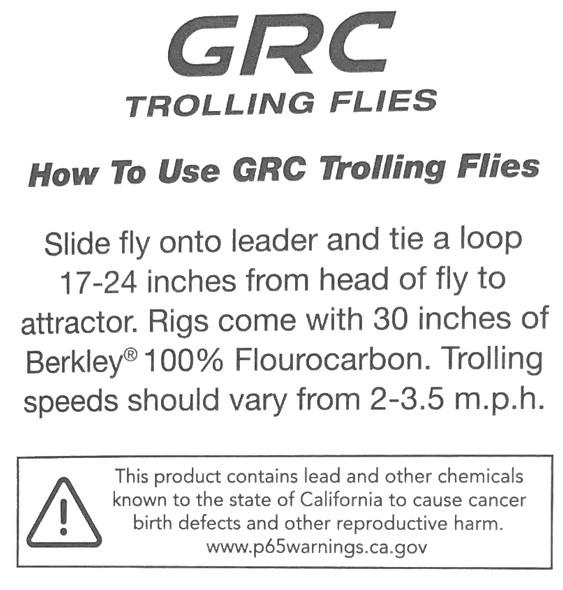 "GRC Trolling Flies - 4"" Black Tail"