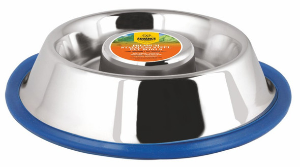 Large 58oz Advanced Pet Products Slow Feeding Stainless Steel Non-Skid Bowl
