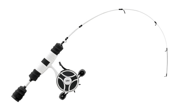 """13 Fishing - FreeFall Ghost / Fate V3 Ice Combo 27"""" ML (Medium Light) - Tickle Stick Tip with Tennessee Handle and Evolve Reel Wraps - LH Retrieve"""