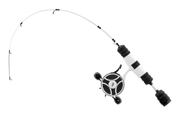 """13 Fishing - FreeFall Ghost / Fate V3 Ice Combo 27"""" ML (Medium Light) - Tickle Stick Tip with Tennessee Handle and Evolve Reel Wraps - RH Retrieve"""