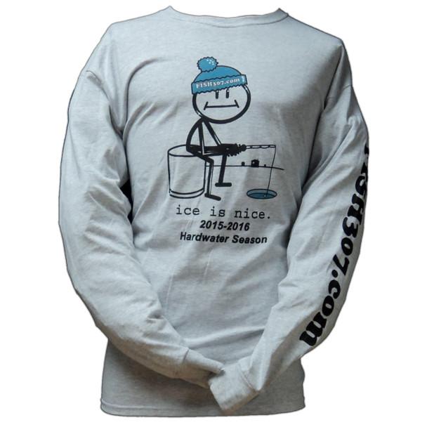"FISH307.com ""Ice is Nice"" Long Sleeve Cotton T-Shirts - 2015/16 Hardwater Season"