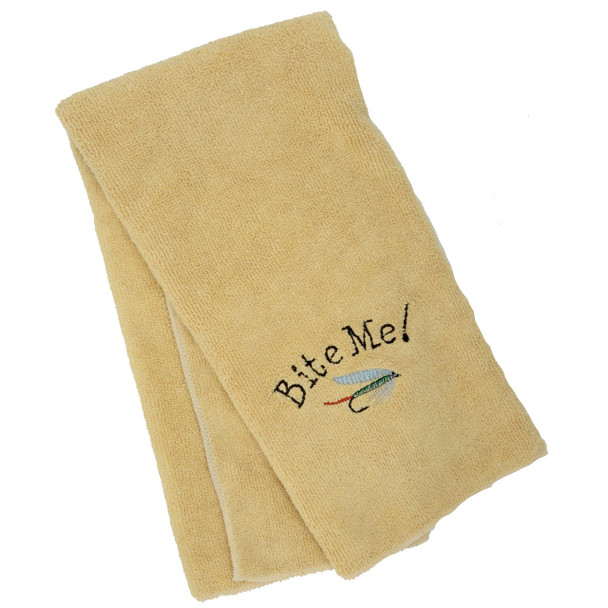 Embroidered Bite Me! Towel - Yellow