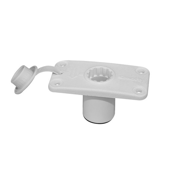 Scotty 244 Flush Deck Mount White With Rain Cap - White