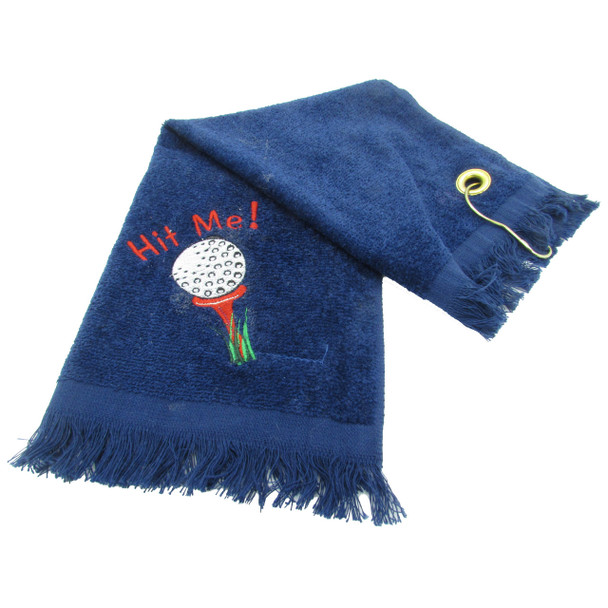 Embroidered Hit Me! Golf Crying Towel - Blue