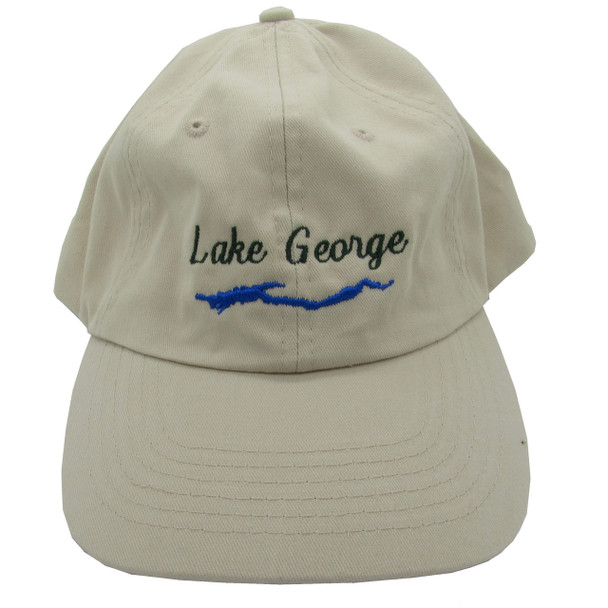 Embroidered Lake George Ball Cap / Hat - Light Beige - One Size Fits Most
