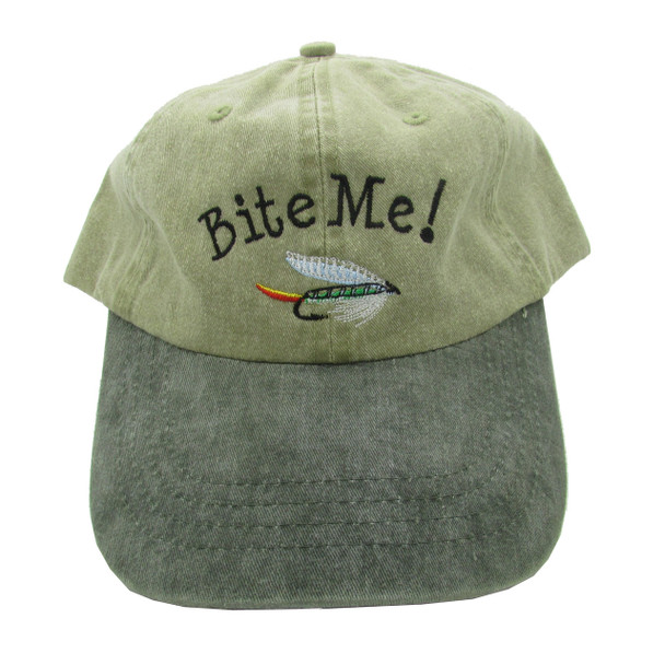 Embroidered Bite Me! Ball Cap / Hat - Green With Green Bill - One Size Fits Most