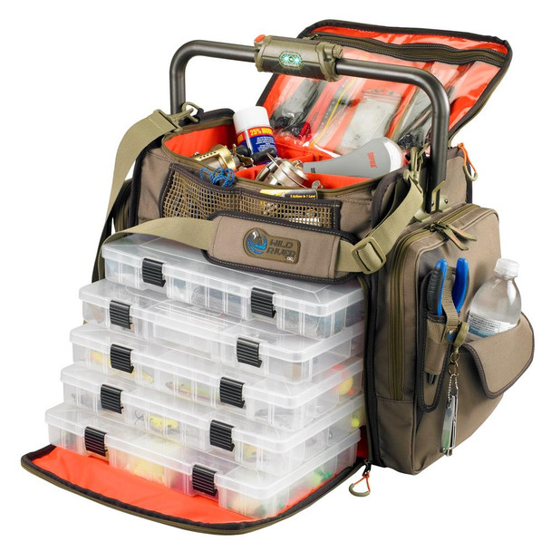 Wild River FRONTIER Lighted Bar Handle Tackle Bag w/5 PT3700 Trays - 46833