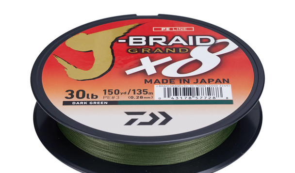 Daiwa J-BRAID® x8 Braided Line - Dark Green 150 Yards / 135 Meters