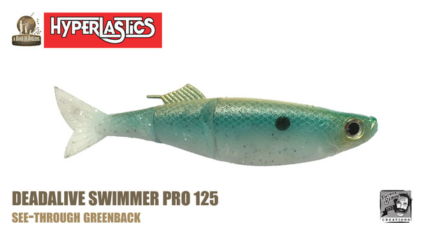 "A Band of Anglers HYPERLASTICS™ DEADALIVE™ Pro5"" - Swimmer Pro 123, See-Through Greenback"
