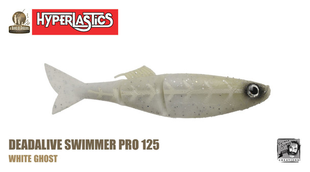 "A Band of Anglers HYPERLASTICS™ DEADALIVE™ Pro5"" - Swimmer Pro 123, White Ghost"