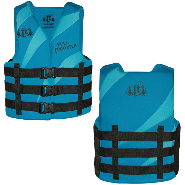 Full Throttle Rapid Dry PFD - Adult L/XL - Aqua/Blue