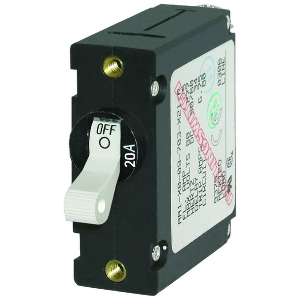 Blue Sea 7214 AC/DC Single Pole Magnetic World Circuit Breaker - 20AMP