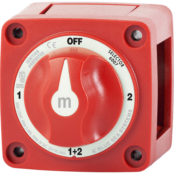 Blue Sea 6007 m-Series (Mini) Battery Switch Selector Four Position Red