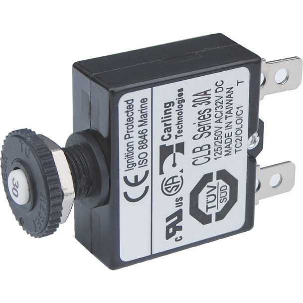 Blue Sea 7059 30A Push Button Thermal with Quick Connect Terminals