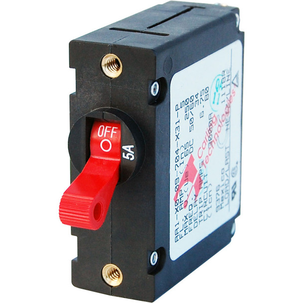 Blue Sea 7201 AC/DC Single Pole Magnetic World Circuit Breaker  -  5 AMP