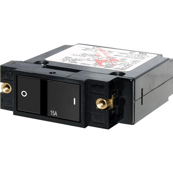 """Blue Sea 7403 Single Pole Small Case 2"""" Flat Rocker Circuit Breaker  -  15 Amp"""