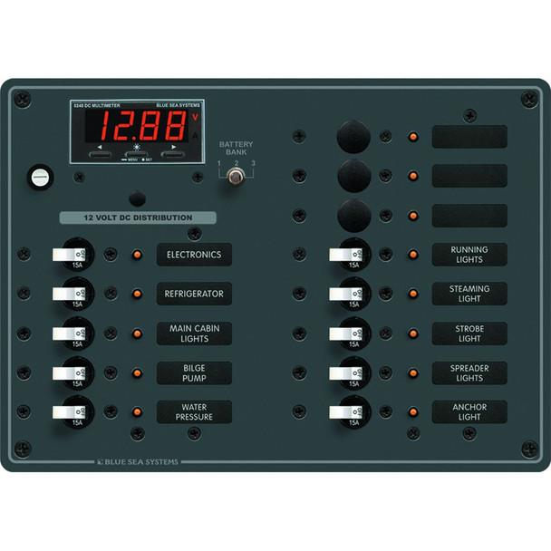 Blue Sea 8403 DC Panel 13 Position w/ Multimeter