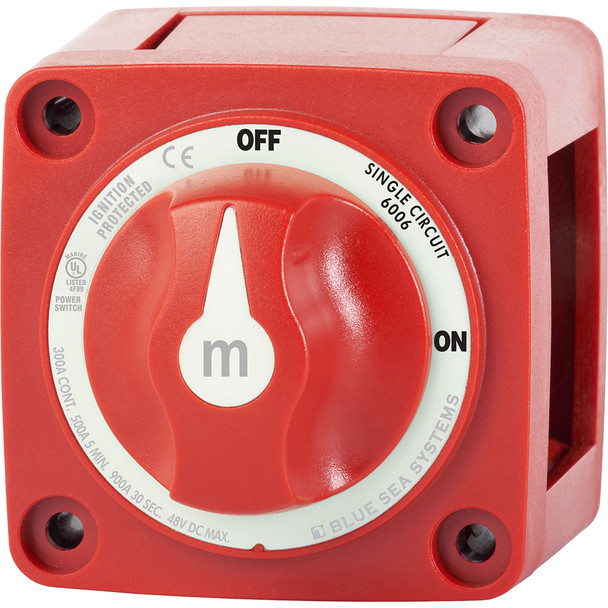 Blue Sea 6006 m-Series (Mini) Battery Switch Single Circuit ON/OFF Red